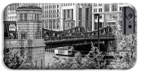 Franklin iPhone Cases - Franklin Street Bridge Black and White iPhone Case by Christopher Arndt