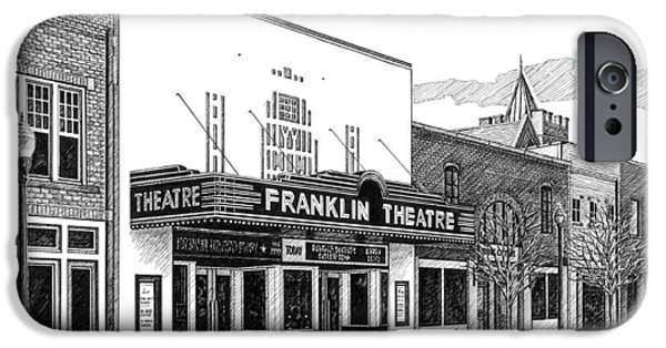 Franklin Drawings iPhone Cases - Franklin Theatre in Franklin TN iPhone Case by Janet King
