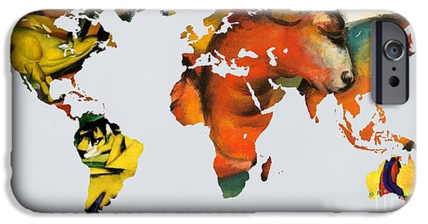 Abstract Expressionist iPhone Cases - Franz Marc 2  World map iPhone Case by John Clark