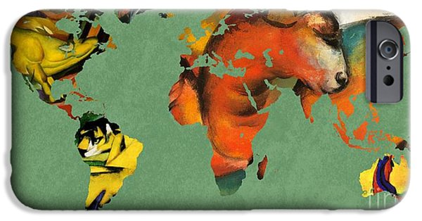 Abstract Expressionist iPhone Cases - Franz Marc 3  World Map iPhone Case by John Clark