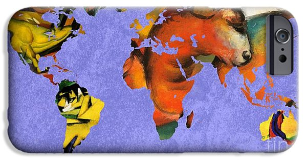 Abstract Expressionist iPhone Cases - Franz Marc 1 World Map iPhone Case by John Clark