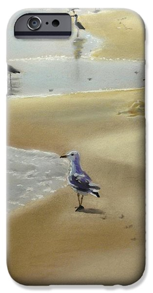 Seagull Pastels iPhone Cases - Fred and his Peeps iPhone Case by Janine Ferranti