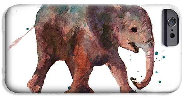 Elephants iPhone Cases - Freddie Funtime Elephant iPhone Case by Alison Fennell
