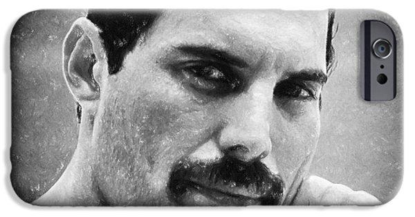 Celebrities Art Pastels iPhone Cases - Freddie Mercury iPhone Case by Antony McAulay