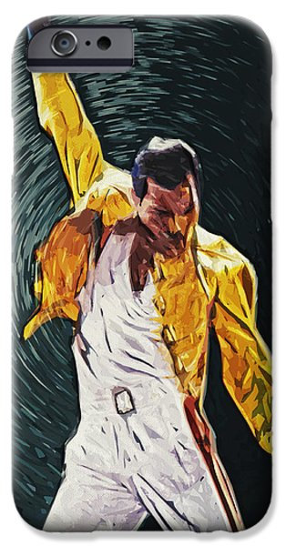Queen Digital iPhone Cases - Freddie Mercury iPhone Case by Taylan Soyturk