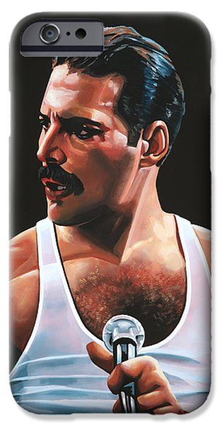 Ga iPhone Cases - Freddie Mercury iPhone Case by Paul Meijering