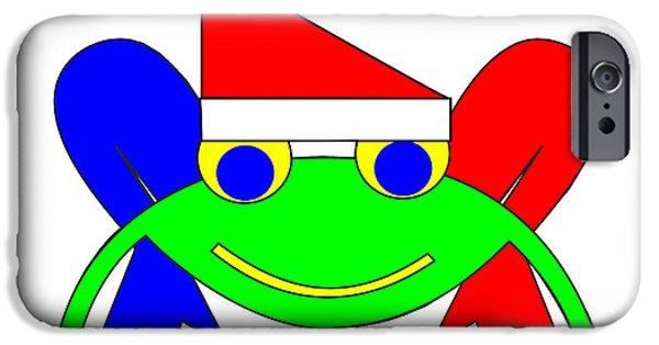 Asbjorn Lonvig Digital iPhone Cases - Frederic the Frog whishes you a Merry Christmas iPhone Case by Asbjorn Lonvig
