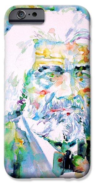 Frederick Douglass iPhone Cases - FREDERICK DOUGLASS - watercolor portrait iPhone Case by Fabrizio Cassetta