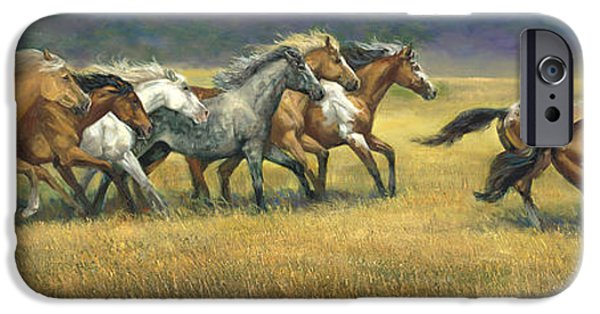 Race Horse Paintings iPhone Cases - Free and Wild iPhone Case by Laurie Hein