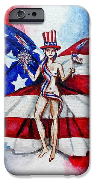 4th July Paintings iPhone Cases - Free as Independence Day iPhone Case by Shana Rowe