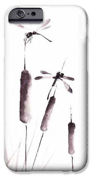 Hong Kong Paintings iPhone Cases - Free As The Dragonflies iPhone Case by Oiyee  At Oystudio