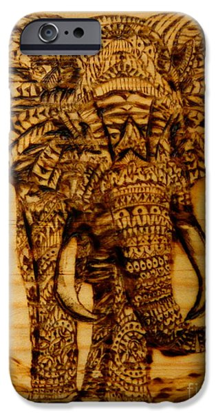Elephants Pyrography iPhone Cases - Free Expression iPhone Case by William Waters