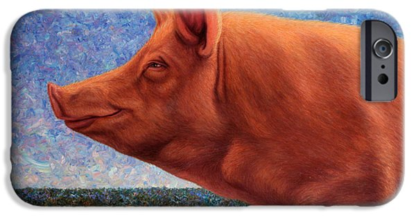 Pigs iPhone Cases - Free Range Pig iPhone Case by James W Johnson