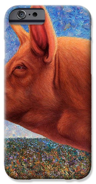 Free Range Pig iPhone Case by James W Johnson