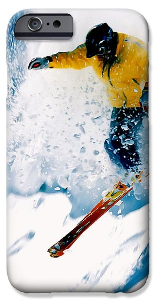 Skiing Action Paintings iPhone Cases - Free-ride Skier iPhone Case by Lanjee Chee