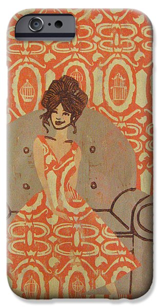 Printmaking Reliefs iPhone Cases - Free Thinker - Orange iPhone Case by Jeslyn Cantrell