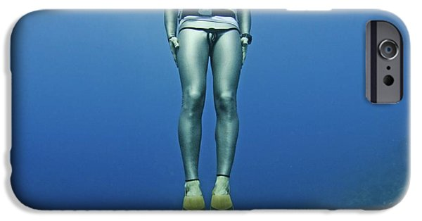Free-diver iPhone Cases - Freediver Underwater iPhone Case by Photostock-israel