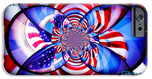 American Flag iPhone Cases - Freedom Abstract  iPhone Case by Aurelio Zucco