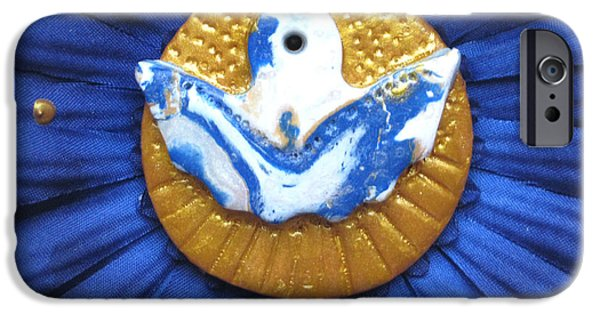 Angel Blues Sculptures iPhone Cases - Freedom angel iPhone Case by Heidi Sieber