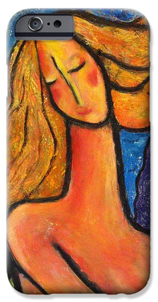 Fantasy Landscape With Figure Paintings iPhone Cases - Freedom iPhone Case by Chaline Ouellet