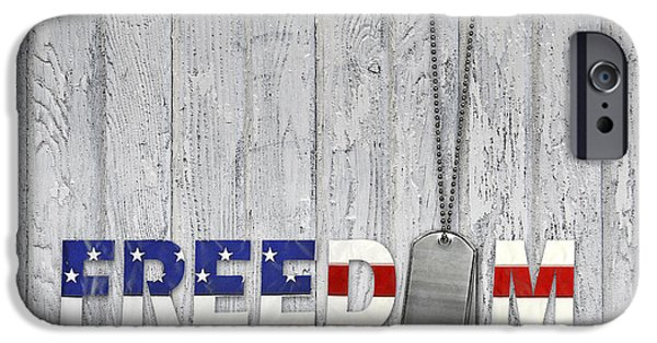 4th July Mixed Media iPhone Cases - Freedom Dog Tags iPhone Case by Maria Dryfhout