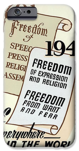 Constitution iPhone Cases - FREEDOM EVERYWHERE in the WORLD iPhone Case by Daniel Hagerman