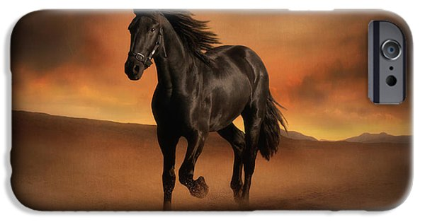 Horse Pyrography iPhone Cases - Freedom in the Desert iPhone Case by Jennifer Woodward