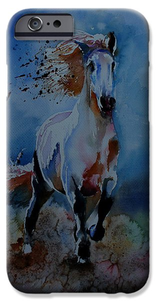 Horse Racing Drawings iPhone Cases - Freedom iPhone Case by Isabel Salvador