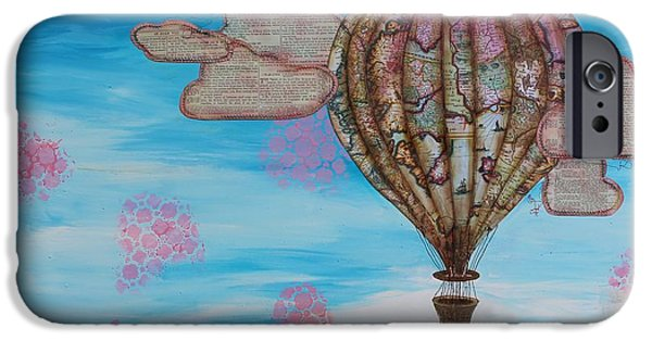 Hot Air Balloon Mixed Media iPhone Cases - Freedom iPhone Case by Rebekah R Jones