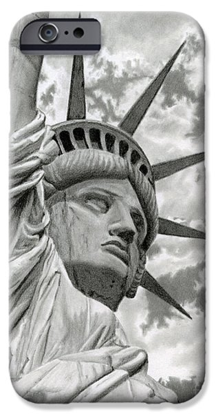 4th July Drawings iPhone Cases - Freedom iPhone Case by Sarah Batalka