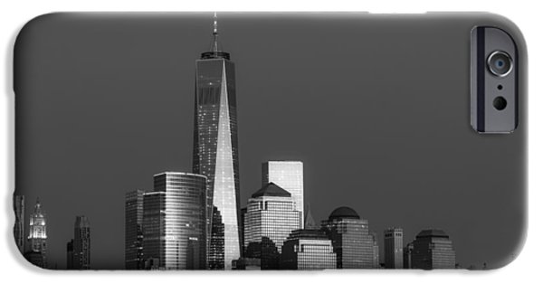 City Scape iPhone Cases - Freedom Tower Glow BW iPhone Case by Susan Candelario