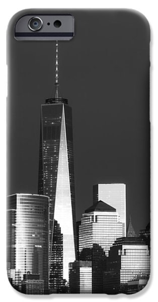 City Scape iPhone Cases - Freedom Tower Glow II BW iPhone Case by Susan Candelario