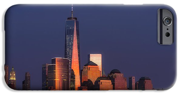 Manhattan iPhone Cases - Freedom Tower Glow II iPhone Case by Susan Candelario
