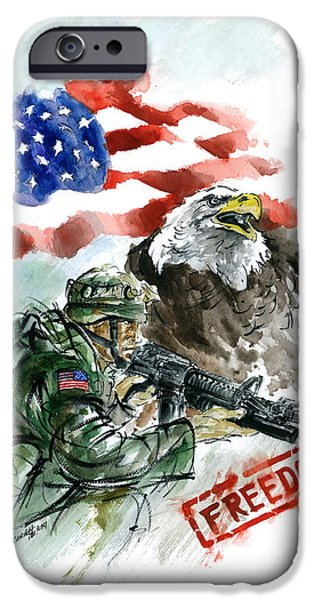 Iraq Paintings iPhone Cases - Freedom USArmy iPhone Case by Mariusz Szmerdt