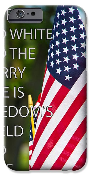 Fourth Of July iPhone Cases - Freedoms Shield iPhone Case by Tom Gari Gallery-Three-Photography