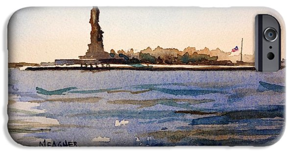 Statue Of Liberty Paintings iPhone Cases - Freedoms Silhouette II iPhone Case by Spencer Meagher