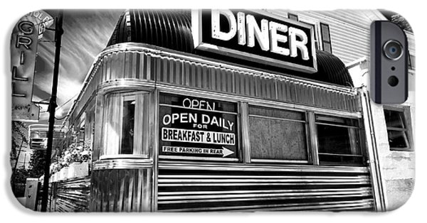 Monotone iPhone Cases - Freehold Diner iPhone Case by John Rizzuto