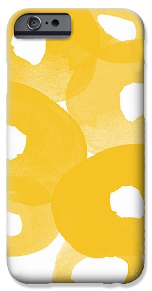 Yellow Abstracts iPhone Cases - Freesia Splash iPhone Case by Linda Woods
