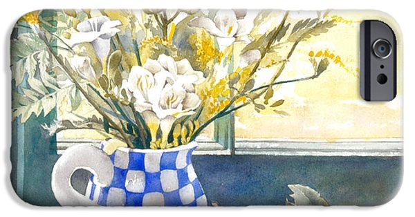 Indoor Still Life iPhone Cases - Freesias And Chequered Jug iPhone Case by Julia Rowntree