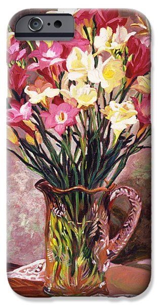 Still Life iPhone Cases - Freesias In Crystal Pitcher iPhone Case by David Lloyd Glover