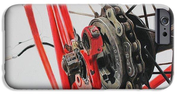 Bicycle Drawings iPhone Cases - Freewheel iPhone Case by Joshua Navarra