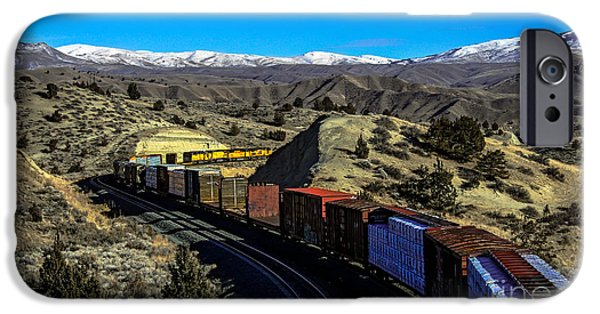 Haybale iPhone Cases - Freight Train In The Mountains iPhone Case by Robert Bales