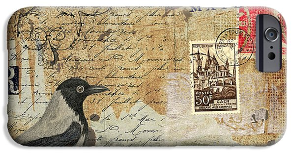 Postcard iPhone Cases - French Bird Postcard iPhone Case by Carol Leigh