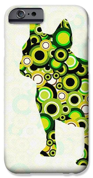 Silhouettes iPhone Cases - French Bulldog - Animal Art iPhone Case by Anastasiya Malakhova