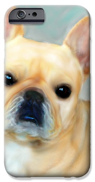 Las Cruces Digital Art iPhone Cases - French Bulldog Mystique DOr iPhone Case by Barbara Chichester