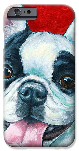 French Bulldog iPhone Cases - French Bulldog on Red iPhone Case by Dottie Dracos