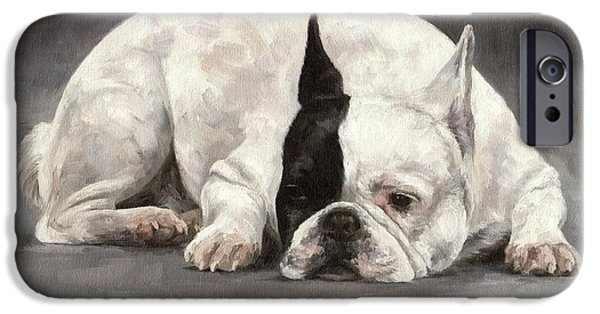 French Bulldog iPhone Cases - French Bulldog Painting iPhone Case by Rachel Stribbling