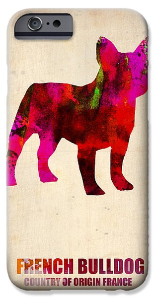 Pets Art iPhone Cases - French Bulldog Poster iPhone Case by Naxart Studio