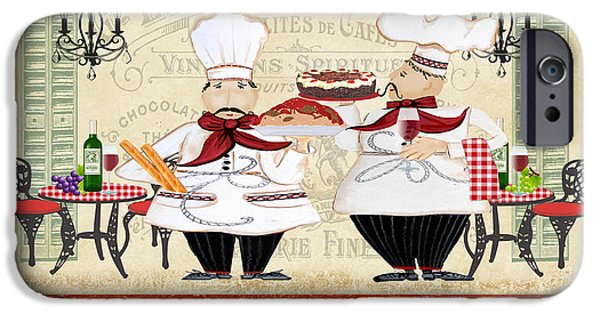 Waiter Digital iPhone Cases - French Chefs-JP2250 iPhone Case by Jean Plout