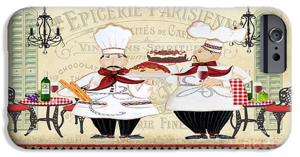 Waiter Digital iPhone Cases - French Chefs-JP2250B iPhone Case by Jean Plout